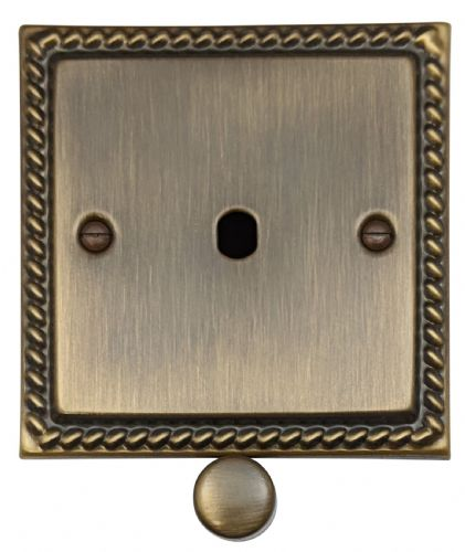 G&H MAB11-PK Monarch Roped Antique Bronze 1 Gang Dimmer Plate Only inc Dimmer Knobs